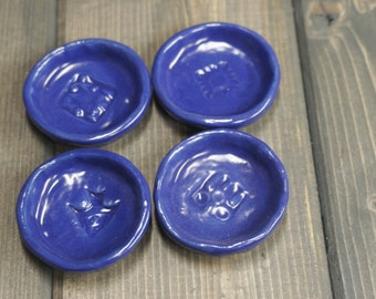 Handmade Tea Bag holder, Spoon holder Dark Blue