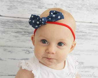 4th of July Headband, Memorial Day Headband, Canvas Knot Headband, Knot Headband, Baby Knot Headband, Baby Nylon Headband, Nylon Knot