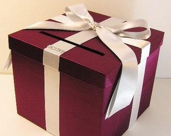Wedding Card Box Burgundy and Silver Gift Card Box Money Box Holder-Customize your color