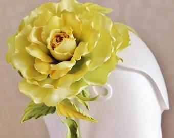 SAMPLE SALE yellow flower fascinator, oversized flower headpiece, silk rose floral hairpiece, oversized flower, large silk rose headband