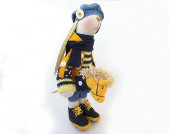 "Fabric doll Artist toy Bunny boy Matt Cloth art doll Rabbit boy Big toy plush buunny tilda boy OOAK 19"" 48cmHome decor room Soft Toy  yellow"