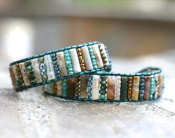 Ocean Jasper, African Turquoise Gemstone, Blue Crystal Beaded, Bronze Beads, Leather Wrap Cuff, Bohemian Bracelet, Beaded Leather Wrap