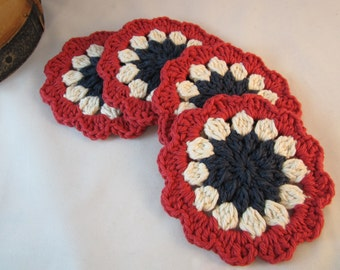 Americana Coasters, Crochet Coasters, Red White and Blue Coasters, Crochet cotton coasters, Primitive Coasters