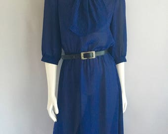 Vintage Women's 80's Blue, Striped, Dress by Miss Oops (S)