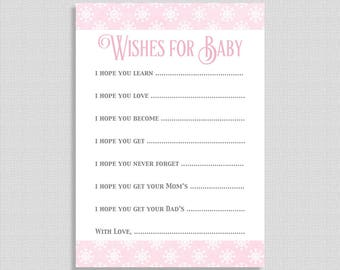 Wishes For Baby Cards, Pink Snowflake Baby Shower Activity, Winter Baby Girl Shower, DIY Printable, INSTANT DOWNLOAD