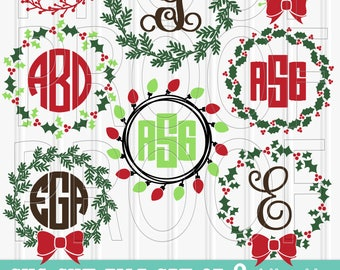Christmas Monogram SVG Files Set of 8 Wreath cut files includes svg/png/jpg formats {no letters included} Christmas monogram svg wreath svg