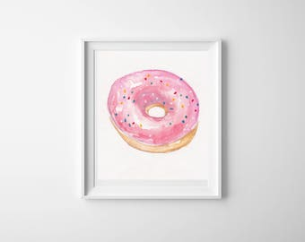 Watercolor Pink Frosted Sprinkle Donut Illustration
