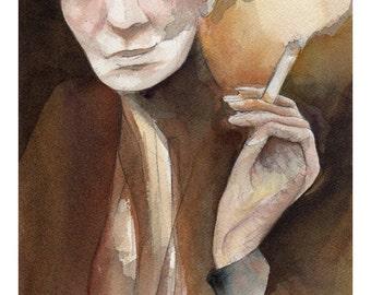Ritratto di Pina Bausch - Portrait of Pina Bausch - Watercolor of Pina Bausch