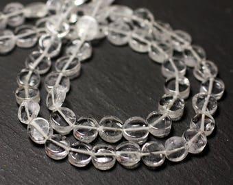 10pc - stone beads - Crystal Quartz 6mm - 8741140011830 pucks