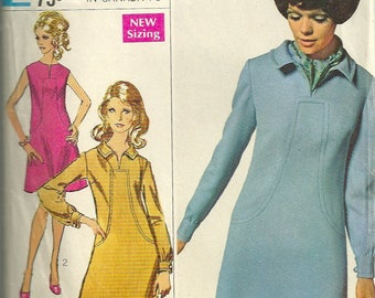 1960s Simplicity 7849 Designer Fashion Misses A Line Dress Pattern with Front Seam Interest Womens Vintage Sewing Pattern Size 10 Bust 32