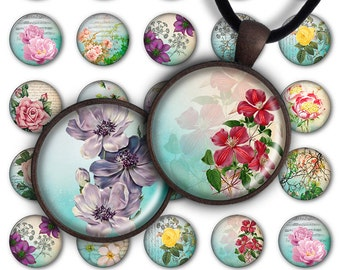 75% OFF SALE Digital Collage Sheet Flowers Paradise 1inch Round 30mm 25mm Circle Printable Download PC044 Instant Download Jewelry Making