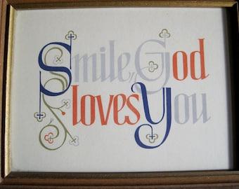 Vintage Smile God Loves You plaque