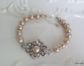 Champagne Pearls Bridal Bracelet Pearl Rhinestone Bracelet Ivory swarovski Pearls Bridal Bracelet Pearl Bridal Bracelet Bridal Cuff CLAUDE