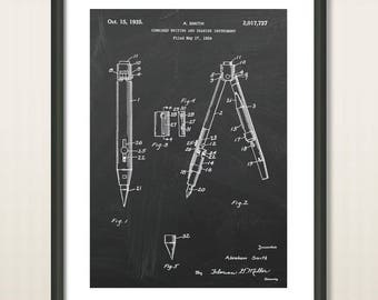 Pen patent, Compass patent, poster print, pencil, office decor, wall art, home design, writing, school, Architect Gift, Drawing Tool