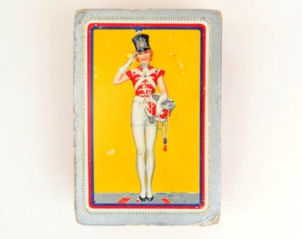 Waddington Deck of Cards - Drum Majorette Playing Cards, Marching Band Drummer Girl, Pin Up Style Playing Cards - Aged