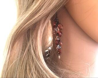 Delicate brown & tan Earrings, Statement pierced earrings, 3 Inch Drop earrings, flutter earrings, brown and bronze earrings