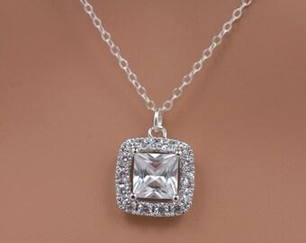 Rhinestone Bridal Necklace, Crystal Wedding Necklace, Square Cut Crystal, Cushion Cut Bridal Necklace, Sterling Silver Necklace 0269