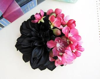 Black Dahlia Blossom Hair Flower, Fall Bridal Flower Hair Clip, Pinup Hair Clips, 1940s 1950s, Pinup, Shabby Chic Flowers, Wedding Hair Clip