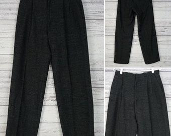 Vintage 70s Club Europe Heavy Wool Blend Men's dress Pants 30x30 Black & Gray Pleated Front Trousers