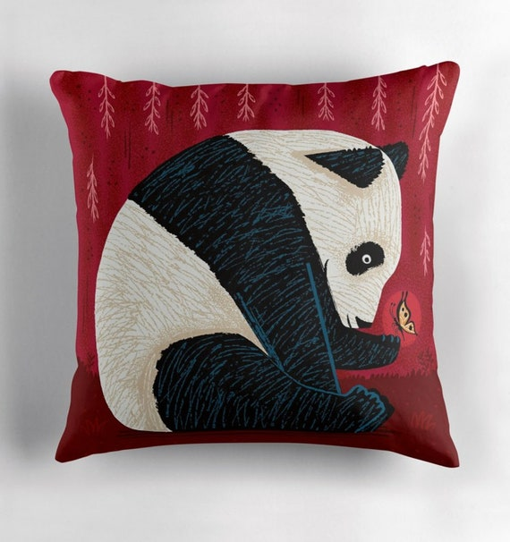 The Panda and the Butterfly - throw pillow cover / cushion cover by Oliver Lake / iOTA iLLUSTRATION