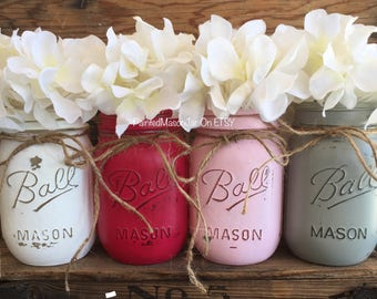 Painted Mason Jars, Mason Jars, Flower Vases, Baby Shower Centerpieces, Its A Girl, Pink And Gray Party Decorations, Gender Reveal Party
