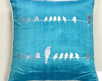 Birds on Wire Screenprinted Cushion Cover-Turquoise
