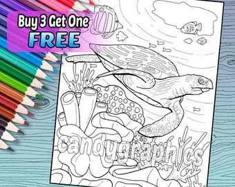 Sea Turtle Underwater - Adult Coloring Book Page - Printable Instant Download