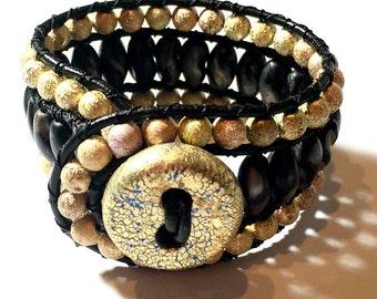 Beaded Wrap Leather Bracelet, Artisan Boho cuff bracelet, 3 Row Wrap Beaded Bracelet, Beaded bracelet, Women's wrap bracelet