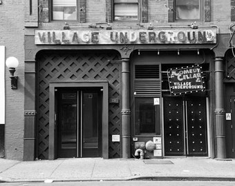 New York Photography, Black and White, Greenwich Village, West Village, Village Underground, Comedy Cellar, NYC, bar, club, urban, Wall Art