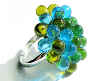 Cluster Berry Ring Green and Light Blue - Adjustable glass ring, Spring Green Sky Blue cocktail ring, funky cluster ring, funky rings