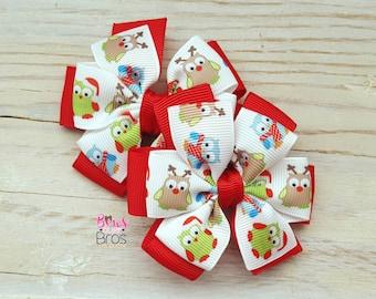 Christmas Owls Bow Set - Pinwheel Piggy Set