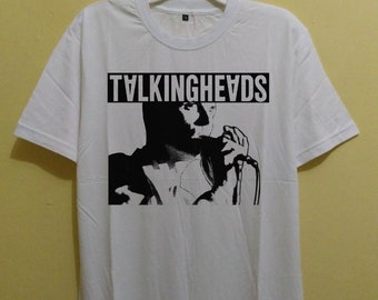 Desain vintage 90s New t shirt  Elio Talking Heads unisex white