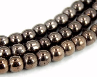 Shiny Brown Hematite Beaded Strand - 4mm Beads - 1 STRAND (S70B2b-04)