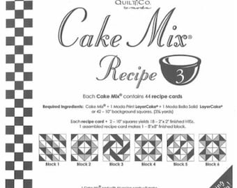 Moda Cake Mix Recipe 3--Foundation Piecing Pattern Pack--Quilt Pattern--Paper Piecing--Easy Half Square Triangles--CM3 Miss Rosie