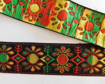 10 yard lot Woven Jacquard Ribbon Trim Tape~Red~Yellow~green~Black~Folk Art geometric pattern~1-5/8""