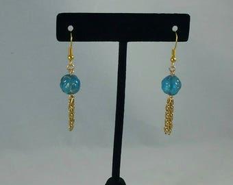 Blue and gold  tassel earrings, classy, dressy.