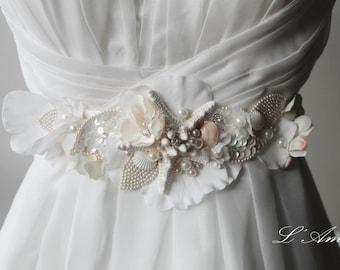 Ornately Decorated Starfish and Seashell Beach Wedding Sash belt, Bridal Belt on Embroidered Lace Flower Underlay-L'Amei