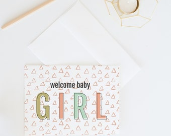 Welcome Baby Girl | Modern Baby Shower Card, New Baby Congratulations Card, Mom To Be, New Arrival, Illustrated Baby Greeting Card