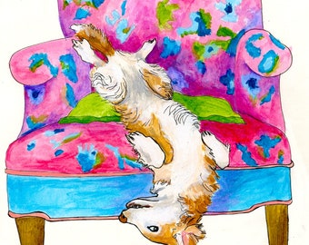 Dog Upside Down In Chair Bored Dog Series Mixed Media Image Print On Acid Free Paper