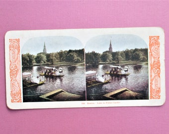 Boston Antique Stereograph Card Swan Boats Stereo View Card in Color World Series Company #104 Boston Gardens Vintage Stereoview Card