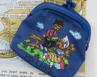 Vintage Coin Purse Holland Souvenir Accessories Dutch Boy and Girl Genre Whimsical Charm