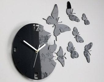 Wall Clock BUTTERFLY BLACK METALIC  large wall clock gift wall decor Unique wall clocks