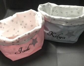 Set of 2 personalized reversible cotton storage baskets