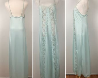 Vintage Diane Von Furstenberg Blue Lace Nightgown Size M | '80s Lingerie Nightie