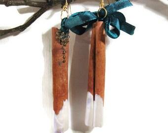 Cinnamon Dangle Earrings, Cinnamon Jewelry, Eco Jewelry, Statement Earrings