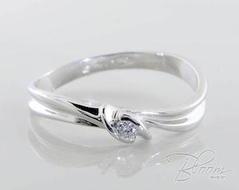 Real Diamond Ring 18K White Gold Ring Promise Ring for Her Promise Diamond Ring Gold Promise Ring Unique Diamond Ring White Gold