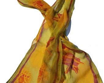 Mums and Leaves hand painted silk chiffon scarf
