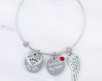 Pet Memorial Jewelry Pet Memorial Bracelet Personalized Pet Remembrance Bracelet Pet Memorial gift Pet Loss Gift Forever in my Heart