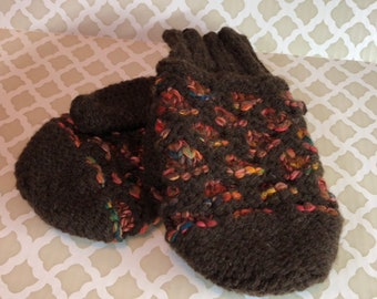 Manly Brown Wool Mittens