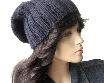 Hand Knit Hat, Watchman Cap, Knit Slouchy Hat, The Alex Hat, Vegan Knits, Winter Accessories, Mens Hat, Slouchy Beanie, Womens Hat